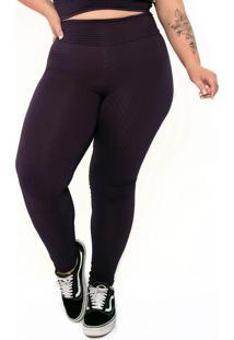Calça Legging Plus Size Com Bolsos Roxo
