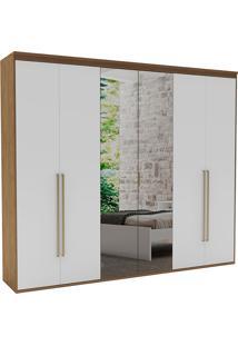 Guarda-Roupa Casal 2,07Cm 6 Portas C/ Espelho Originale Fosco-Belmax - Ebano / Branco