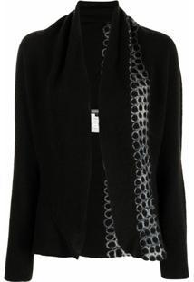 Suzusan Cardigan De Cashmere Com Estampa Tie-Dye - Preto