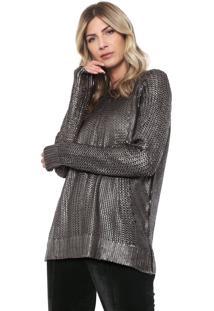 Suéter Dimy Tricot Metalizado Prata