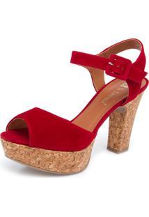 Sandália Di Cristalli Meia Pata Salto Grosso Vermelha