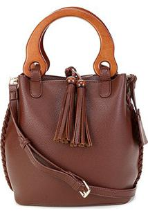 Bolsa Shoestock Bucket Alça Madeira Feminina - Feminino-Caramelo