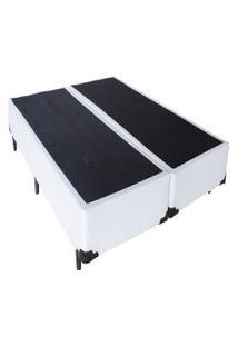 Cama Box Bipartido Premium Tecido Sintético Branco Casal 1,38 X 1,88 X 0,37