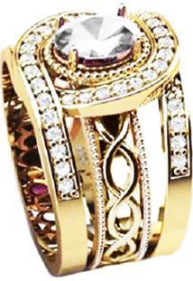 Anel Cristal Solitário Queen Triplo Banhado A Ouro 18K