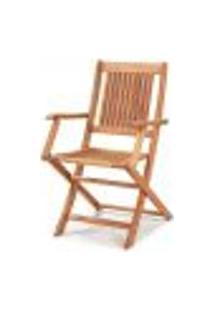 Cadeira Dobrável Com Braços Para Área Externa Em Madeira Eucalipto - Maior Durabilidade – Jatobá
