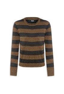 Blusa Feminina Striped Cotton Lurex Blend Crew Neck - Dourado