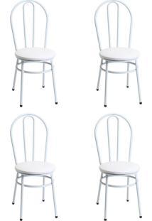 Conjunto Com 4 Cadeiras Peeta Branco