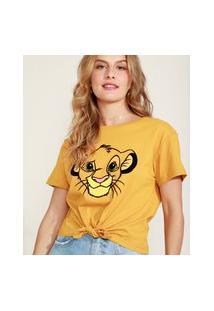 Camiseta Cropped De Algodão Simba O Rei Leão Flocada Com Nó Manga Curta Decote Redondo Mostarda