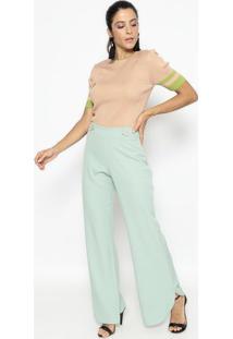 Blusa Em Tricã´ Listrada- Rosa Claro & Verde- Wool Liwool Line