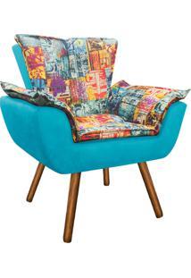 Poltrona Decorativa Opala Suede Composê Estampado Street D05 E Azul Tiffany - D'Rossi
