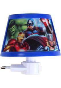 Luminária Avengers®- Azul & Branca- 11,5X11,5X6Cm