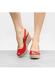 Sandália Anabela Shoestock Verniz Feminina - Feminino-Vermelho