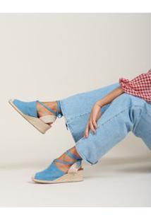 Anabela Suede Amarração - Jeans 34