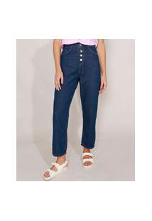 Calça Reta Cropped Jeans Com Bolsos Cintura Super Alta Azul Escuro
