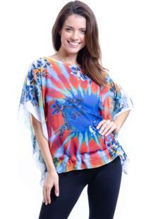 Blusa 101 Resort Wear Poncho Ombro A Ombro Estampada Tie Dye