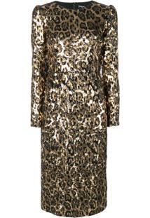 44c948fe5d787 ... Dolce   Gabbana Vestido Midi Animal Print Com Paetês - Dourado