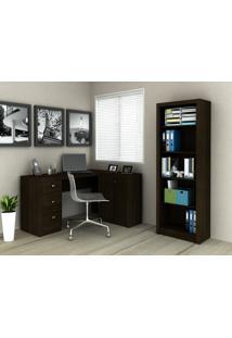 Conjunto Home Office 2 Peças Tecno Mobili: 1 Escrivaninha Com Balcão E 1 Armário - Tabaco - Multistock