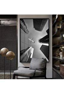 Quadro 150X100Cm Arquitetura Avião Preto Branco Vidro Cristal E Moldura Preta Decorativo Interiores - Oppen House