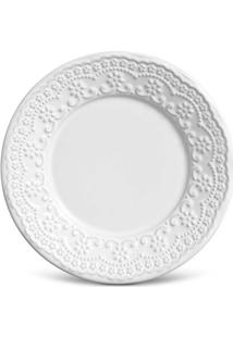 Prato Em Cerâmica Sobremesa Madeleine 20Cm Branco