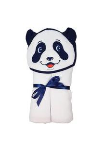 Toalha Banho Bebe Com Capuz Forro Fralda Panda Azul Menino