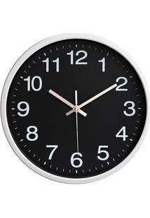 Relógio De Parede 30Cm Preto E Branco