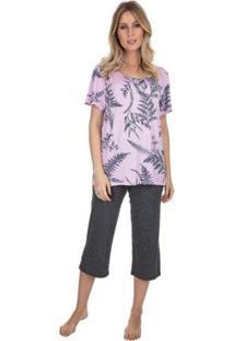 Pijama Capri Garden Feminino - Feminino-Rosa