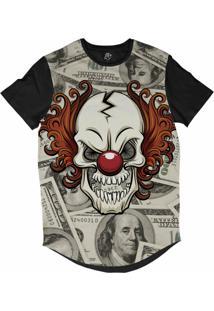 Camiseta Bsc Longline Palhaço Dolar Sublimada Preta Cinza