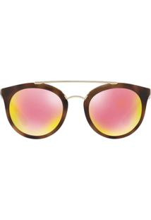 Óculos De Sol Prada Redondo Pr Cinema - Feminino-Marrom