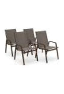 Kit 4 Cadeira Riviera Piscina Alumínio Marrom Tela Fendi
