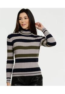 Suéter Marisa Gola Alta Listrado Manga Longa Feminino - Feminino-Cinza