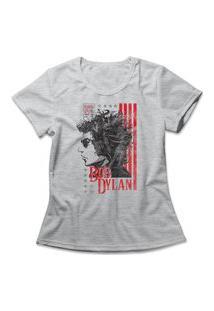 Camiseta Feminina Bob Dylan Cinza