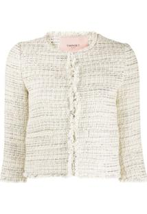 Twin-Set Cropped Tweed Jacket - Neutro