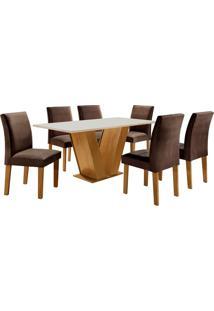 Conjunto De Mesa De Jantar Com 6 Cadeiras Classic Lll Suede Off White E Marrom