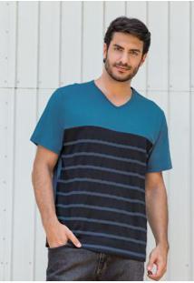 Camiseta Azul E Preta Com Listras Frontais