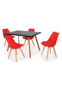 Conjunto Mesa De Jantar Gih 120X80Cm Preta Com 4 Cadeiras Leda - Vermelho