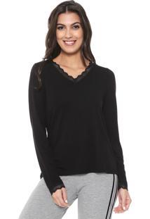 Camiseta Liz Easywear Renda Preta
