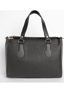 Bolsa Com Recorte Texturizado- Preta- 21X27X15Cmmr. Cat