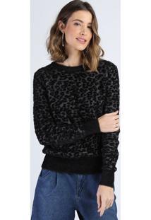 Suéter De Tricô Feminino Felpudo Estampado Animal Print Onça Decote Redondo Cinza Mescla Escuro