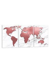 Quadro Oppen House Mapa Mundi Rose Rosado 60X120Cm Decoraçáo Escritórios Salas Empresas