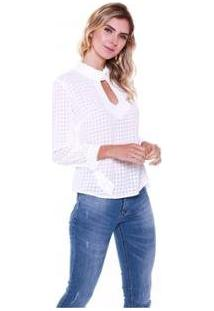 Blusa Studio 21 Fashion Xadrez Fivela - Feminino-Off White
