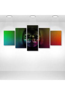 Quadro Decorativo - Cg Digital Art Psychedelic Face Skull - Composto De 5 Quadros
