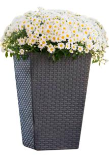 Vaso Medium Rattan Planter 710222 – Keter - Marrom