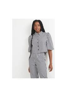 Camisa Cropped Em Algodão Xadrez Com Mangas Bufantes | Blue Steel | Preto | Pp