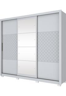 Guarda Roupa Henn Cancun 03 Portas Deslizantes 4 Espelhos Branco Hp