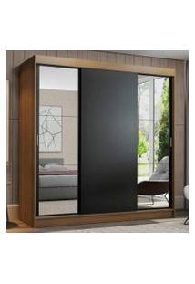 Guarda-Roupa Casal Madesa Reno 3 Portas De Correr Com Espelhos Rustic/Preto Cor:Rustic/Preto