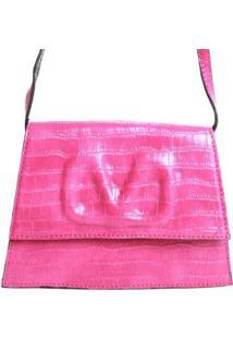 Bolsa Croco Com V Em Textura Birô Feminina - Feminino-Pink