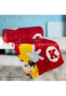 Manta Fleece Mickeyâ® Solteiro- Vermelha & Amarela- 1Lepper