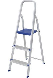 Escada Doméstica Com 3 Degraus Em Alumínio Cinza E Azul