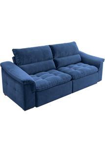 Sofá 3 Lugares Retrátil E Reclinável Nesting Veludo Azul Marinho 210 Cm