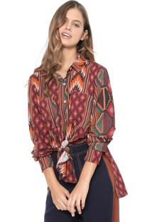 Camisa Dress To Estampada Laranja/Bordô
